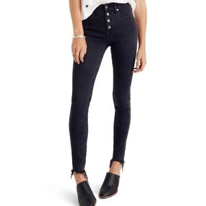 "Madewell 9"" High Rise Raw Hem Black Washed Skinny"